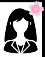 女性シルエット桜つき